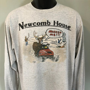 80s Deer Hunting Shirt Newcomb Snowmobile Large